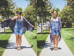 Rachel Park - Urban Outfitters Cape/Shawl, Calvin Klein Overalls, Bcbg Studded Sandals - CAPED CRUSADER