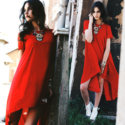 Anna Brain - Rosewe Red High Low Hem Short Sleeve Dress, Chic Wish Boots, Oasap Bold Faux Stone Choker Necklace, Oasap Crop Drop Earrings, Marc By Jacobs Watch, Infinitine Twisted Bangle Bracelet - WHATEVER HAPPENS