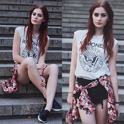 Katarzyna KOKA Konderak - Top, Shorts, Sllipon, Jacket, Hair Extensions - Daily outfit with rose jacket.