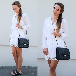 Clean Couture Lu - Hallhuber Blouse, Maingold Bag, H&M Skirt, Birkenstock Sandals - White and black