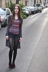 Laura R. - Atmosphere Long Cardigan, New Look Top, Levi's® Hotpants, H&M Velvet Platforms - 07/29/2014