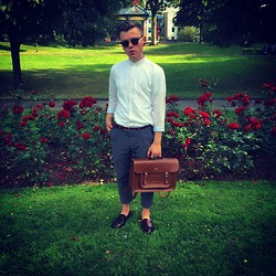Paul O' Farrell - Zara Granddad Linen Shirt, Zara Patterned Cropped Trousers, Cambridge Satchel Company, Topman Oxblood Loafers, Primark Burgundy Suede Belt - Summer outfit 29/07/14