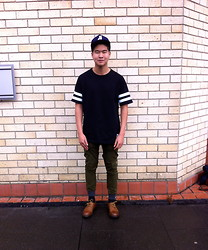 Miguel Valero - Abc Major League Cap, Abc Football Tee, Zanerobe Dynamo Chino Pant, Dr. Martens Dorian Shoe - ABC x Zanerobe