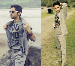 Masud Ahmadi - H&M Grey Pant, H&M Brown Leather Bracelet - Dressed in grey! by the lake