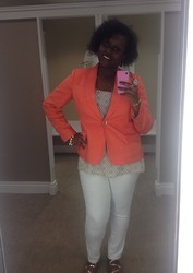 Sue-Ann Francis - Talbots Orange Blazer, A.N.A. Diamond Top, A.N.A. White Jeans - Open Up Your Mind & Know The Sunshine Is In You...