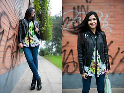 Val Val - Machine Skinny Jeans, Zara Leather Jacket, Prabal Gurung Printed Blouse, Aldo Leather Wedges - The Wall