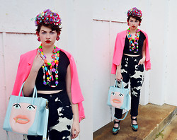 Zoe S. - Girl With The Flower Pink And Purple Rhinestone Bird Headband, Vintage Cow Pants - Don't have a cow, ok