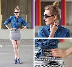 Jenni R. - Jc Denim Shirt, Jc Miniskirt, Zara Sandals, Jc Earrings, Jc Ring, Lindex Sunglasses, Nails, Plum Lipstick - Denim & Concrete