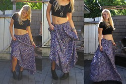 Ashley Renee - Vintage Maxi Skirt, H&M Black Crop Top, Vintage Long Silver And Turquoise Necklace, Jeffrey Campbell Studded Cowboy Booties - Vintage Revival