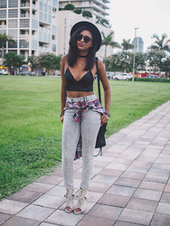 Ria Michelle - Wildfox Couture Steff Sunglasses, Alexander Wang Silk Satin Triangle Bralette, Acid Reign High Rise Wash Jean Legging, Alexander Wang Freja Booties - Midtown Cool