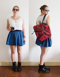 Wiebke S - H&M White Shirt, White Bandeau, H&M Skirt, Daniel Ray Backpack, Dr. Martens Dr - At the zoo