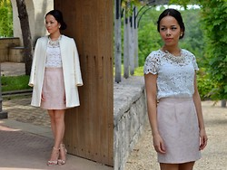 Stephanie R - River Island Skirt, Zara Lace Top, Zara Coat, Mango Heels, Zara Necklace - PALE PERFECTION