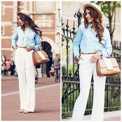Virgit Canaz - Frontrowshop Blouse, Purificacion Garcia Bag, New Look Hat, Mango Wide Trousers - Baby blue