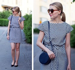 Jenni R. - Lille Clothing Striped Dress, & Other Stories Shoes, & Other Stories Bag, Weekday Sunglasses, Pink Lipstick - Stripe love