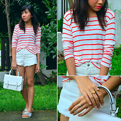 Shayne B - H&M Striped Top, Topshop Satchel - Clean Stripes