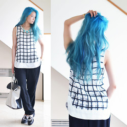 Junko Suzuki - Manic Panic Turquois, Madewell Lapis Flagpoint Hoop Earrings, House Of Harlow 1960 Five Station Necklace, Joa Check Print Sleeveless Top, Madewell Simple Shape Cuff Bracelet, Masaya Kushino Flat Mouse, 3.1 Phillip Lim 31 Hours Bag - 300714 -new hair color-