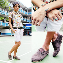 Rinx Martinee - Bossini Shorts, Toms Shoes, Penshoppe Beanie - FALL ON MY SHIRT