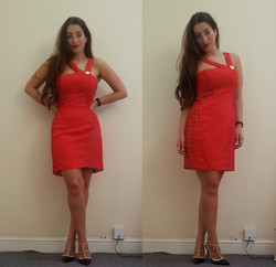 Ella Simpson - Versace Red Dress, Milanoo Studded Heels - Lady In Red
