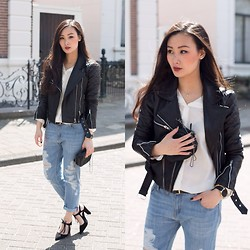 Levi Nguyen - Ripped Jeans, Similar:, Biker Jacket, Similar:, Pointy Heels, Similar: - THE USUAL SUSPECTS