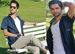 Masud Ahmadi - H&M Pant, H&M A Shirt, Jack & Jones Dark Blue Shirt - Relaxing in the park!