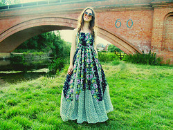 Jess A - Asos Leopard Print Sunglasses, French Connection Uk Maxi Dress - Florals in a Field