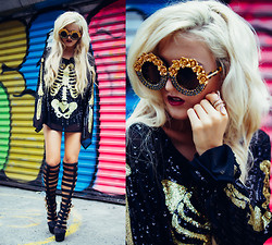Rachel Lynch - The Crystal Cult Gold Sunnies, Wildfox Couture Sequin Skeleton Top, Nasty Gal Gold Snake Ring - Skeleton charms
