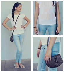 Emilia M. - H&M Long Sky Blue Jeggins, H&M Rock My World Shirt, Primark Brown Purse, Purple - Rock My World