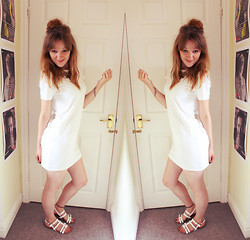 Beth Kennett - Missguided Cream Shift Dress, New Look Coin Necklace, Claire's Tattoo Anklet, New Look Sandals - Ghost.