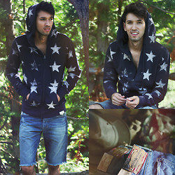 Bobby Raffin - Ralph Lauren Printed Star Hoodie, Ralph Lauren Denim Cut Offs - Shine Like Stars