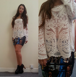Ella Simpson - Choies Lace Top, Black Milk Clothing Cathedral Skirt, Jeffrey Campbell Litas - California Love