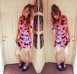 Beth Kennett - Cameo The Label Neon Flower Print Shift Dress, Claire's Tattoo Anklet, Bank Wedged Sandals - Bright Lights.