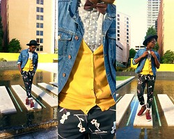 Ronald Gravesande - Asos Grey Polkadotted Shirt, Asos Burgundy Polkadotted Bowtie, Zara Yellow Cardigan, H&M Blue Denim Jacket, H&M Black Floral Pants, Asos Burgundy Chukkas, Urban Outfitters Black Hat - A Dot of Color on a Black Flower