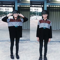 Haha Hariz - Thrifted Bowler Hat, Black Skinnies, Turquoise Dreamcatcher, Black Wingtips, Malay Traditional Shirt?? - Harmony