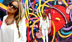 Lovisa - Free People Sunglasses, H&M White Blazer, Topshop Top, Zara Ripped White Jeans, Urbiana Multi Coloured Beaded Statement Necklace - Life in Technicolor