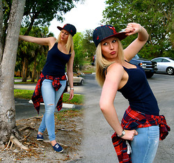 Laurie Lorallure - Abercrombie & Fitch Plaid Shirt, Abercrombie & Fitch Jeans, American Apparel Top, H&M Shoes - A nerd in a gangsta look !