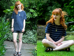 Ellie H - Primark Tee, Asos Shoes, Black Tied Necklace - Clean Stripe
