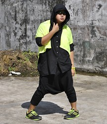 Genniel mark Angeles - Black Polo With Hood, Neon Green Cover Up, Drop Crotch Black Pants, Black & Neon Green Rubber Shoes, Neon Green Rosary, Cyclops Eyeglasses - Neon GREEN!!!