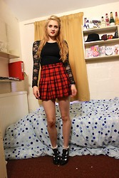 Laurel Elizabeth - Tk Maxx Lace Detail Top, H&M Tartan Pleated Skirt, Topshop Frilly Socks, New Look Heeled Cut Out Boots - We Are The Fallen Angels