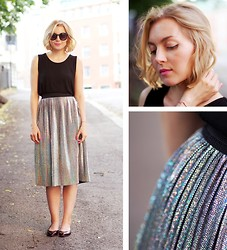 Jenni R. - Monki Silver Hologram Skirt, Only Top, & Other Stories Shoes, Urban Outfitters Sunglasses, Pink Lipstick, & Other Stories Bracelet - Shiny happy people