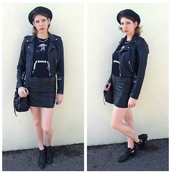 Victoria Jessica - Oh My Love Faux Leather Jacket, River Island Dog Bite T Shirt, H&M Faux Leather Skirt, Primark Studded Duffle Bag, H&M Ankle Boots, Topshop Pork Pie Hat - All things Leather