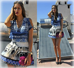 Amina Allam - Choies Headpiece, Fashion Factory Top, 6ks Pleated Skirt, Christian Dior Clutch, Chanel Pumps - Blues & prints
