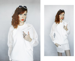 Jesuswannatouchme . - Frontrowshop White Mesh Dress, White Clutch Bag, White Mesh Shorts, Cheap Monday Metal Rings - MOULIN // jesuswannatouchme.