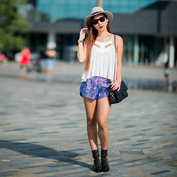 Minh Nguyen - Thea Element Top, Thea Element Shorts, Amiclubwear Bag, Jeffrey Campbell Boots, The Kooples Hat, Ray Ban Sunglasses - Something bought something blue
