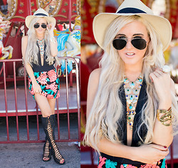 Rachel Lynch - Nasty Gal Hat, Sequin Nyc Teal Necklace, Zerouv Aviators, Nasty Gal Flower Sequin Skirt, Jeffrey Campbell Countess Boots - I Must Be Dreaming