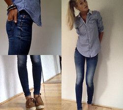 France Oly - Hollister Striped Shirt, Replay Skinny Jeans, La Cord Blanche Flats - M