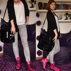 Magdaléna B. - Cropp Town Blouse, Thrifted Cardigan, Bag, Dr. Martens Boots, Zara Jeggings, Gate Neon Neklace - Odd Look