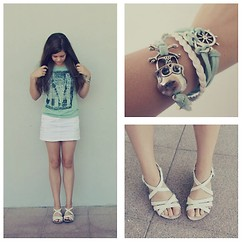 Emilia M. - Porronet White Sandals, Mango White Skirt, Atmosphere Green Shirt, Ebay Bracelets - Minty Wind