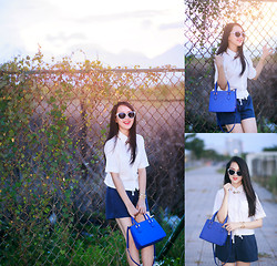 Kieu Anh - Lini Trinh Crop Shirt, River Island Cat Eye Sunglasses, Charles & Keith Bag, Shorts, Ralph Lauren Necklace, Designed By Tuan Duong Sequin Bracelets - BOOM CLAP - CHARLI XCX