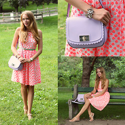 Natalie A - J. Crew Embroidered Dress, Kate Spade Purple Bag, Vince Camuto Sandals, Persun Bracelet, Green Belt - Picnic in High Park