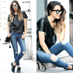 Fadela MECHERI - Spektre Sunglasses, American Apparel Leather T Shirt, J Brand Jeans, Nike Sneakers - LEATHER & DENIM